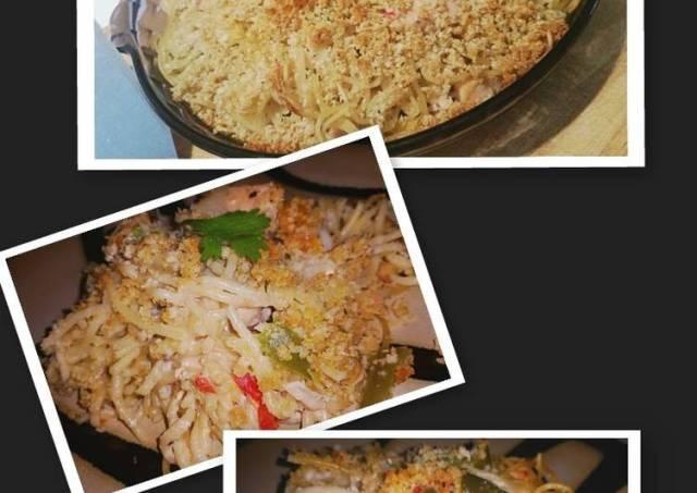 Spaghetti Alfredo Chicken Bake