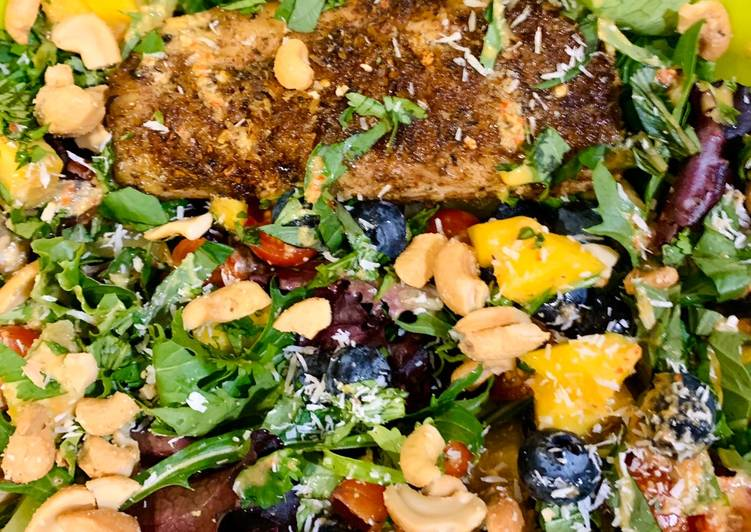 Jerk Mahimahi Salad with Ginger Chile Vinaigrette