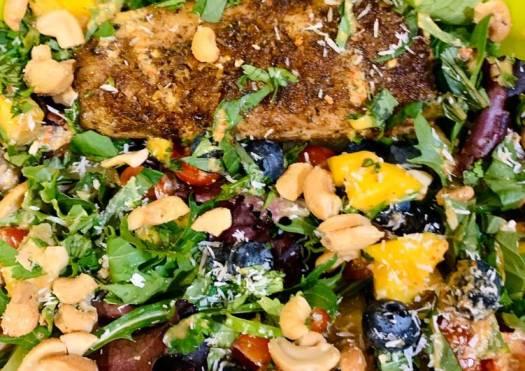 Jerk Mahimahi Salad with Ginger Chile Vinaigrette