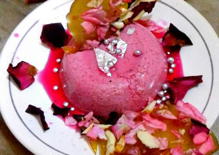 Valentine special.. rose pudding with crunchy rose almond chikki