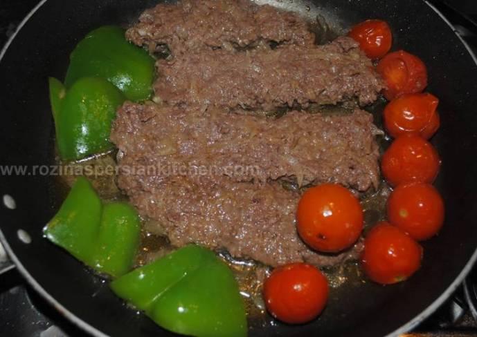 Iranian pan kebab (kebab tabei کباب تابه ای)