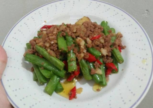 Buncis daging cincang