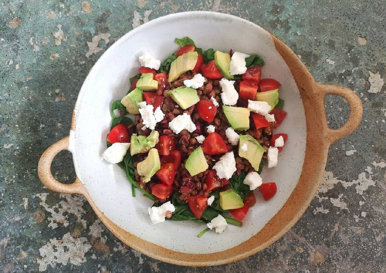 Beetroot, lentil and goats cheese salad