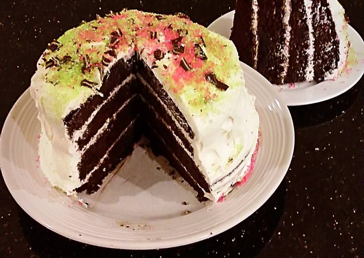 Chocolate Chiffon Layer Cake with Peppermint Marscapone Cream Filling / Frosting