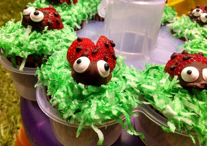 Cute Lady Bug Strawberries to top Cupcakes