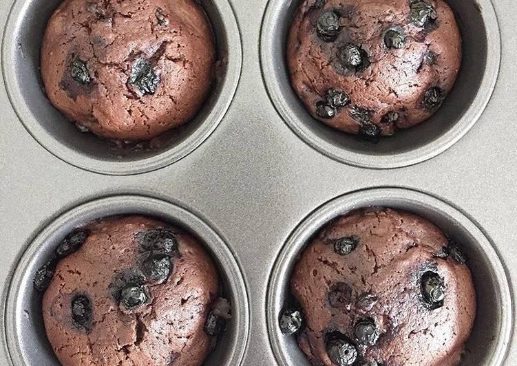 MUFFINS au chocolat 🍫 et myrtilles
