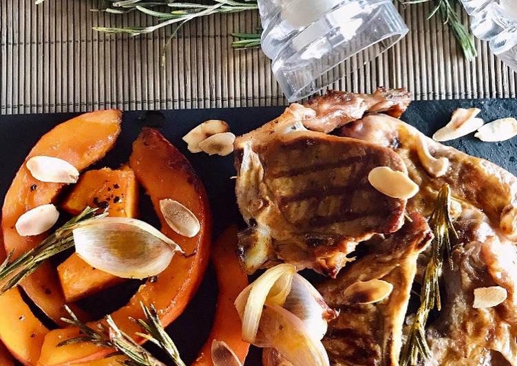 Côtes d'agneaux, potimarron caramélisé miel romarin