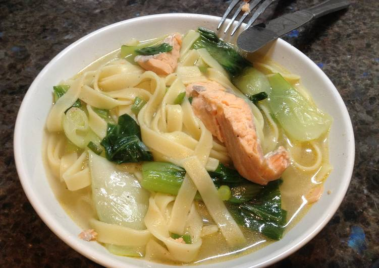 Becky's Salmon and Tagliatelle Soup