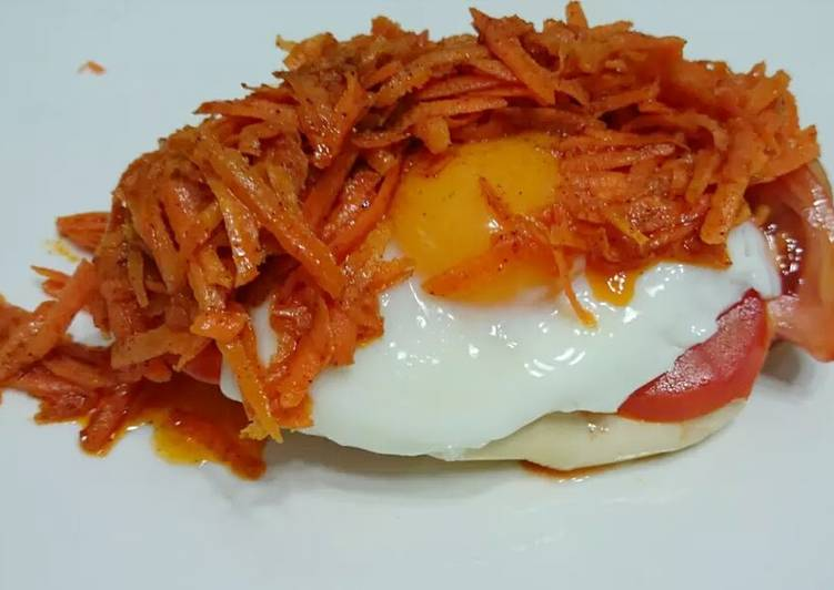 Poached Egg Top Spicy Buttered Carrot Breakfast Sandwich