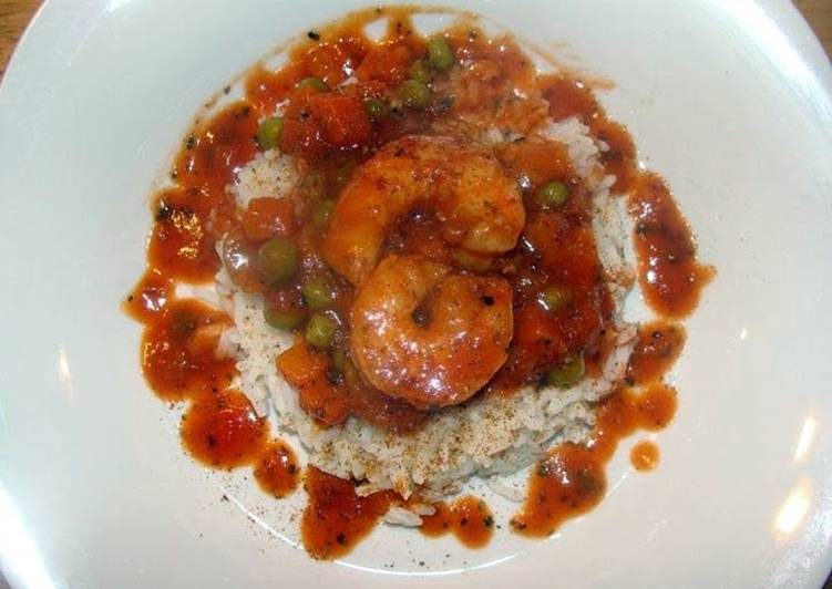 taisen's spicy shrimp sauce over rice