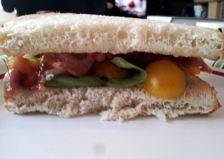 Bacon and Basil Sandwich with Goat Cheese Brie and Golden Tomatoes