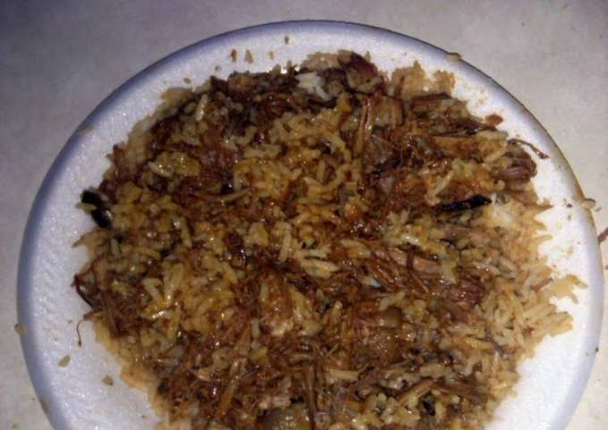 Barbeque pulled pork over rice