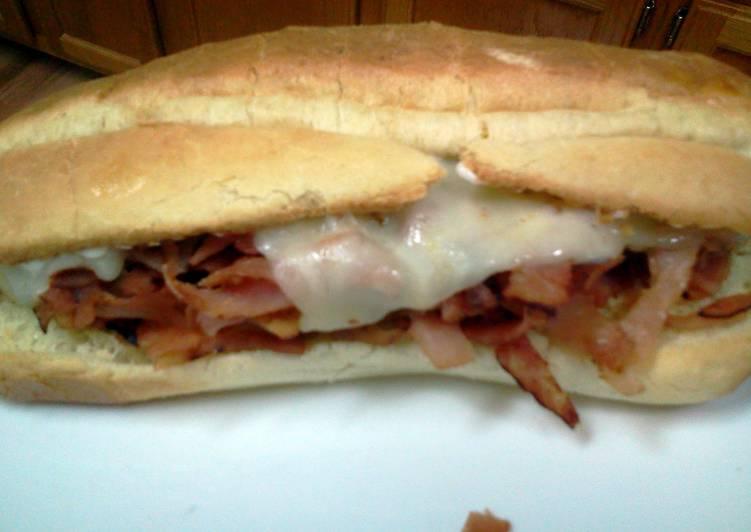 Hot Ham and Cheese Sub Sandwich