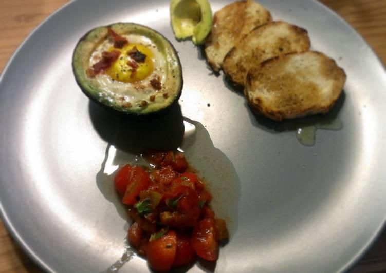 Baked Avocado Breakfast Bruschetta