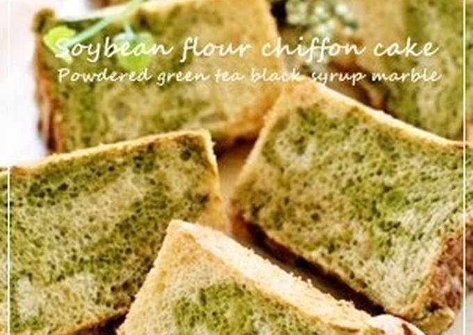 Kinako Chiffon Cake with Green Tea and Black Sugar