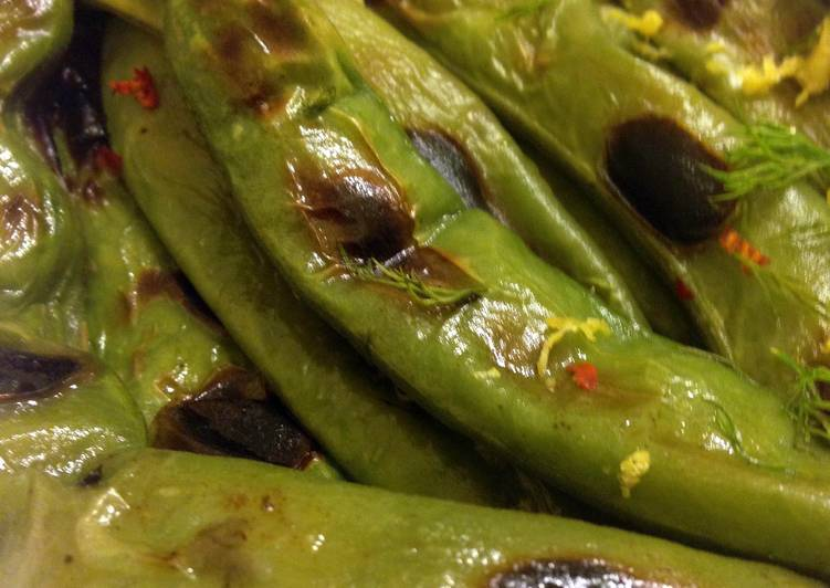 Broiled Fava Bean Pods