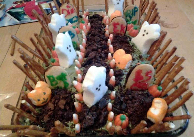graveyard halloween cake