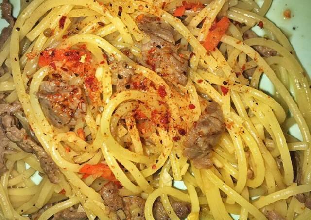 Beef spagetti oglio olio mudah dan enak
