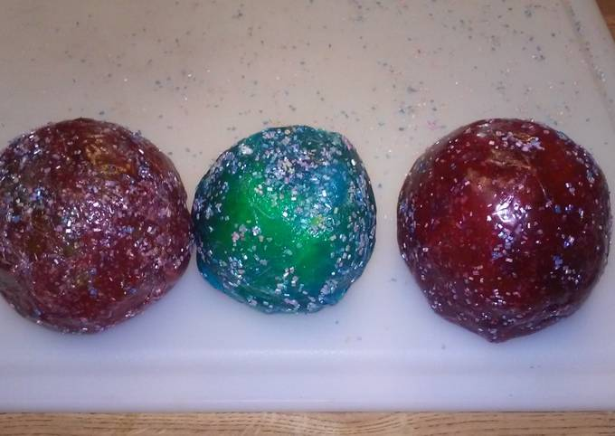 Jolly rancher covered apples with edible glitter