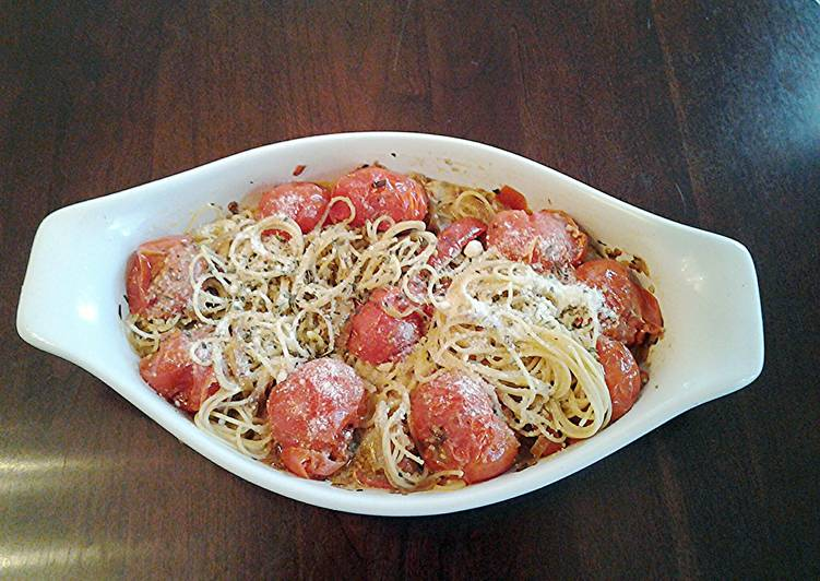Angel Hair Pasta with Garlic,Olive oil, Cherry Tomatos, Peppers  and Onions