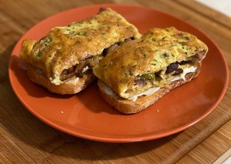 Spam, Egg & Cheese Open Faced Sandwich