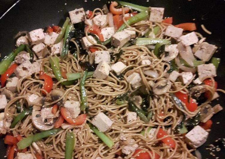 Asia inspired tofu spaghetti