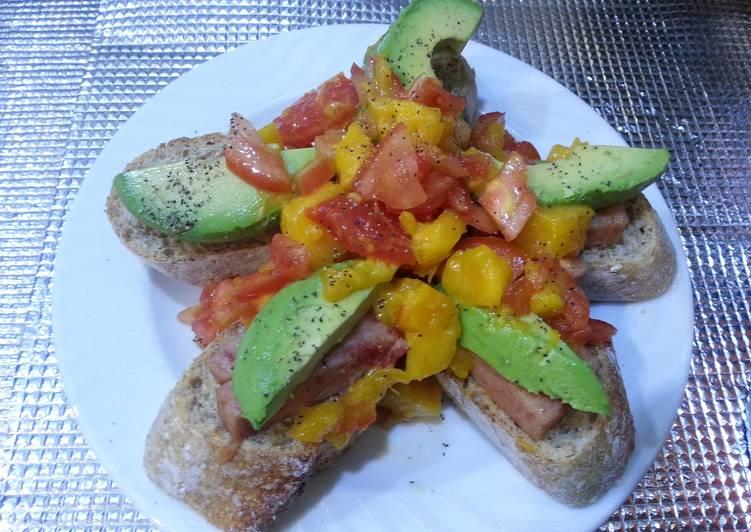 Mango salsa avocado and spam tapa