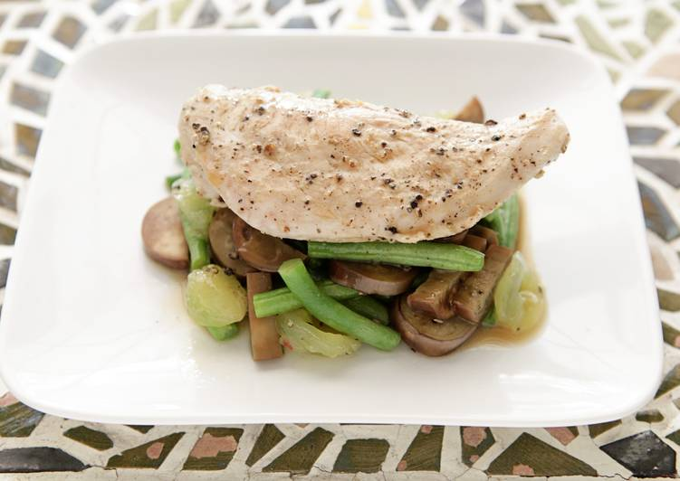 Pan Seared Chicken with Green Bean, Japanese Eggplant, and Muscadine Sauté