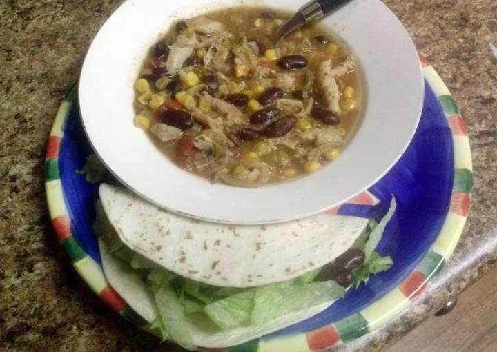 Shredded Mexican Chicken soup or Tacos