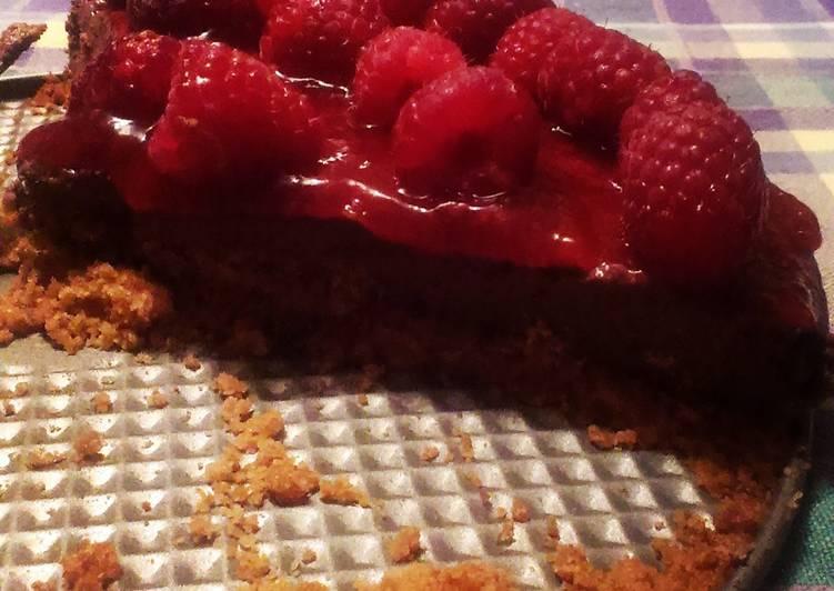Chocolate raspberry dairy free cheesecake