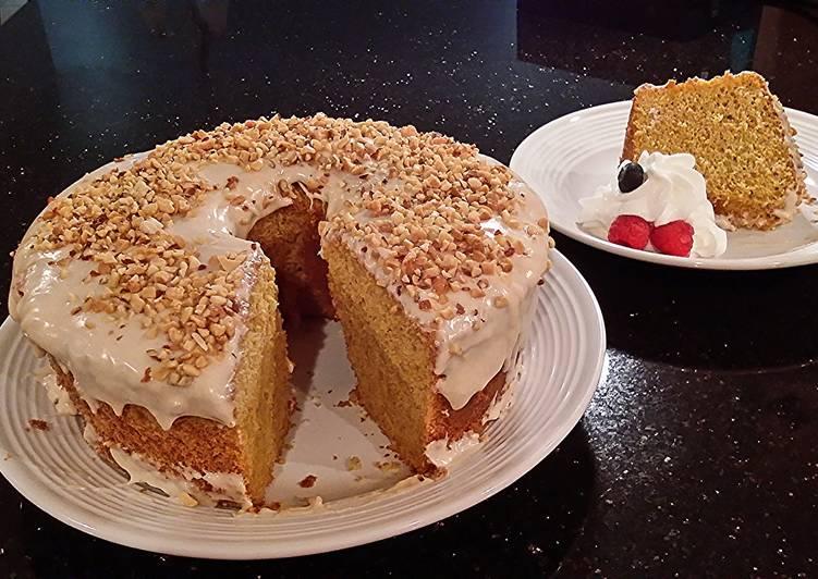 Carrot Chiffon Cake with Cinnamon Cream Cheese Glaze