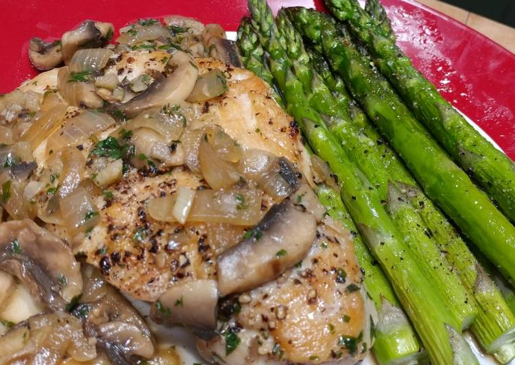 Pan Seared Chicken with Mushroom & Herb Sauce