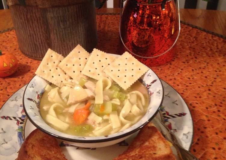 Chicken Noodle Soup With Grilled Cheese Jazzy Style