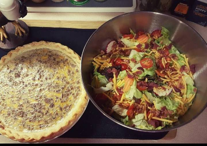Cheesy Ranch Beef Pie, with Salad