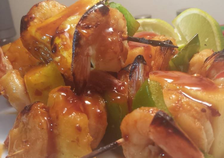 How to Cook Appetizing Chili Teriyaki Shrimp and Pineapple kabobs