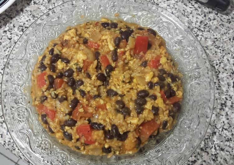 Black Bean, Eggs and Rice Dinner