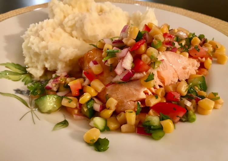 Oven Roasted Salmon with Refreshing Summer Salad
