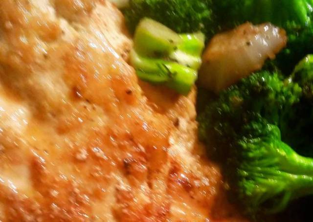 Chicken Piccata Done Light, with Lightly Fried Broccoli and Fennel