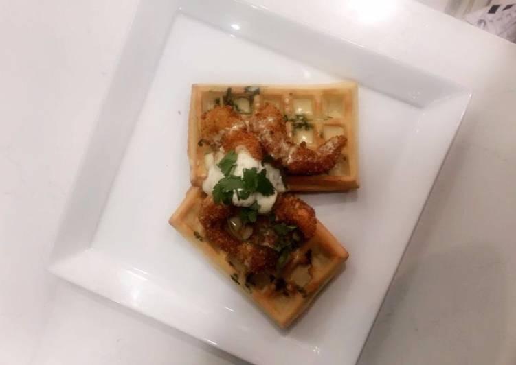 Savoury Waffle with Coconut crumbed prawns