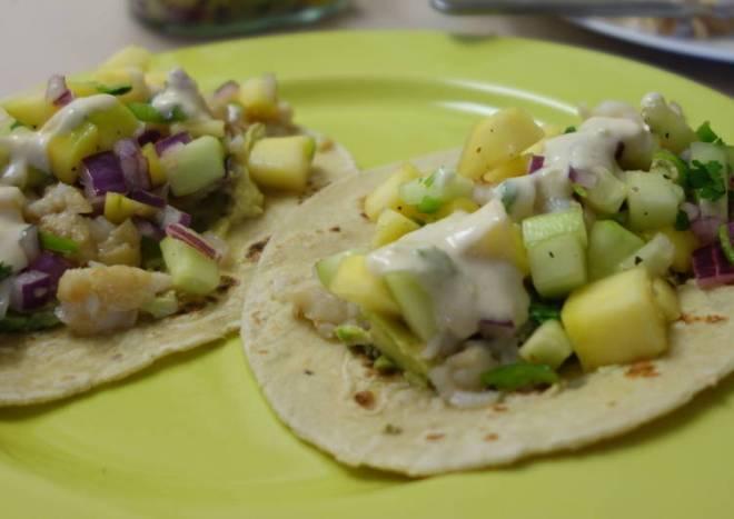 Fish tacos with mango salsa and yoghurt-lime sauce