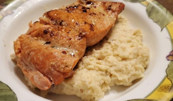 Brad's pan seared salmon with bacon cheddar polenta
