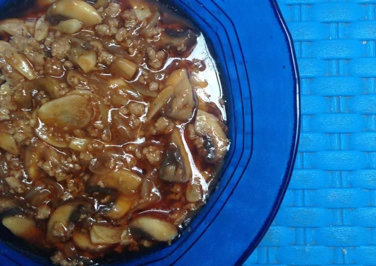 Jamur kancing mix daging giling (topping sphageti)