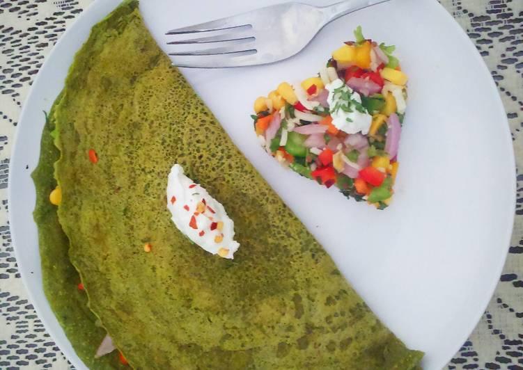 Multi grain stuffed spinach chilla