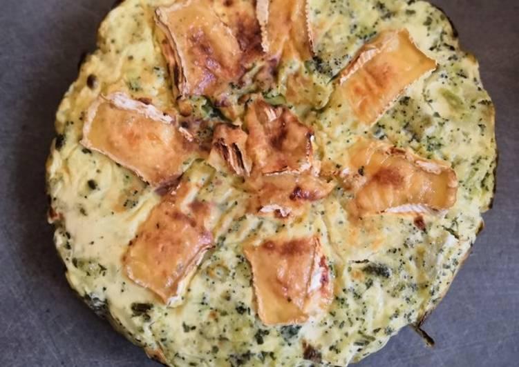 Quiche sans pâte, brocolis, camembert