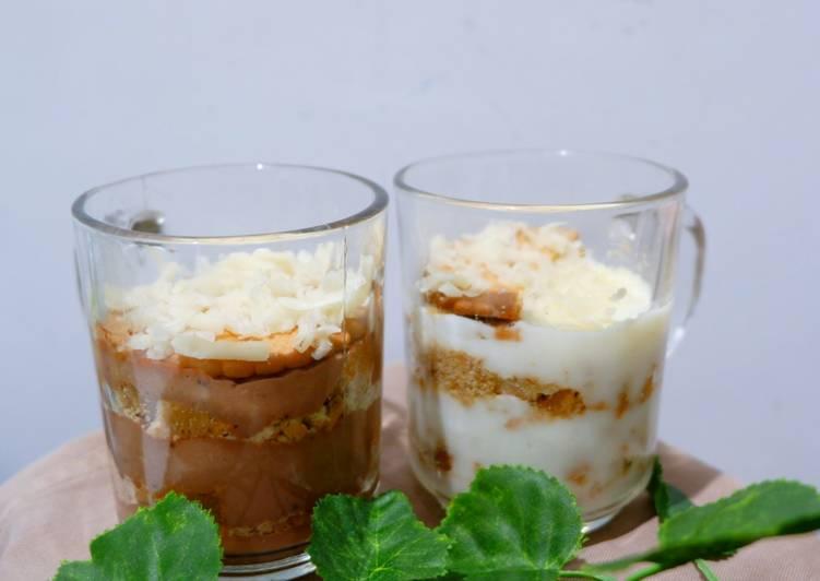 Biskuit marie with vla coklat dan vanila