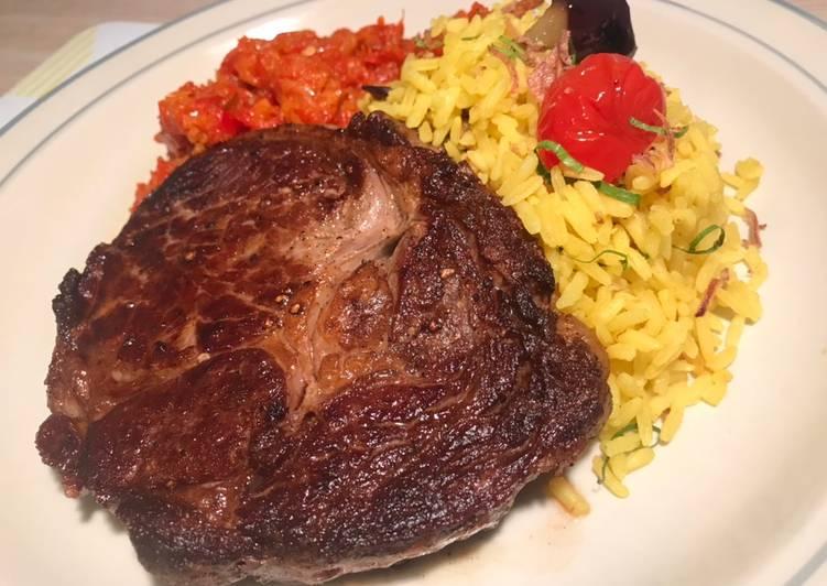 Steak with Turmeric Rice and Chilli Chutney