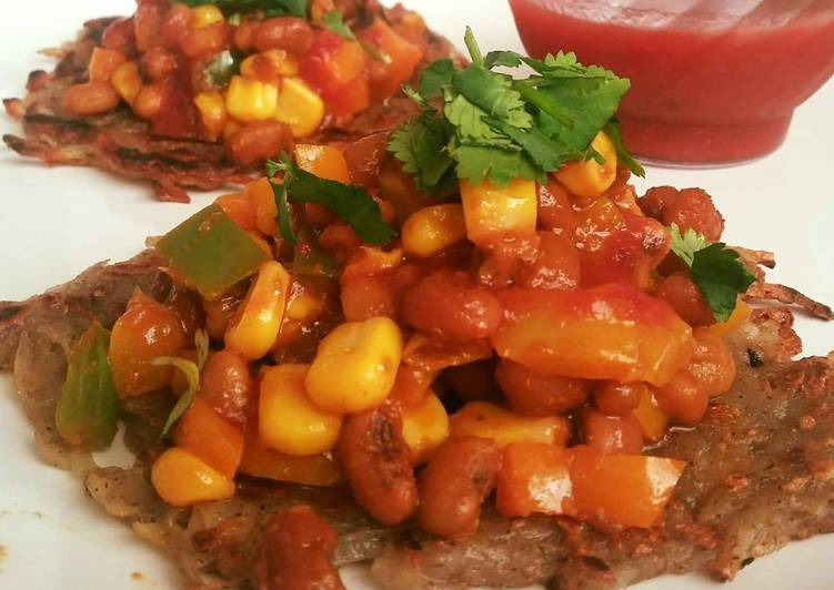 Mexican sopes (Base with grated Potatoes and filling with corn bean chaat)