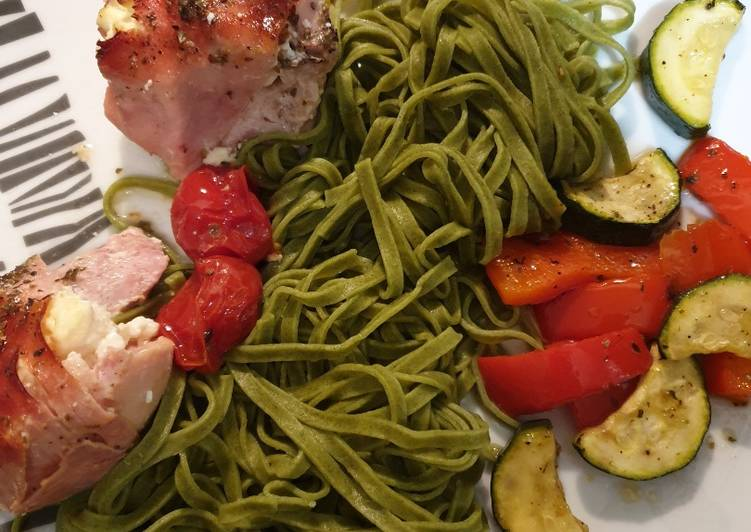 Baked garlic chicken with roasted veg and linguine