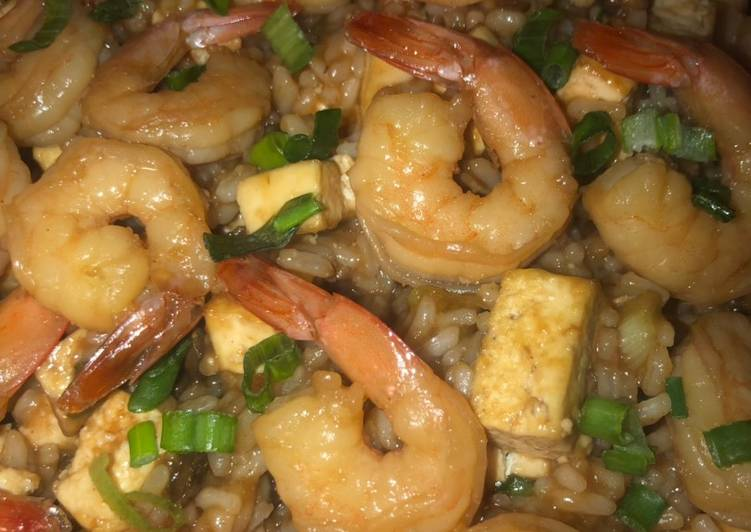Honey garlic shrimp & tofu with rice