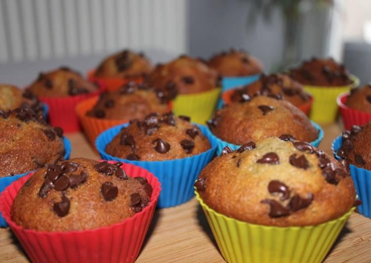 Muffin bananes et pépites de chocolat